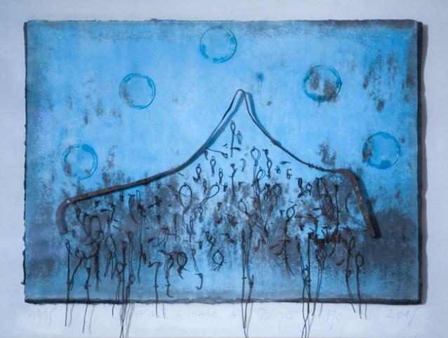 Roberto Floreani, Fase lunare a quota 970, 2015, tecnica mista su carta a mano con tessuto a immersione, in cornice di betulla sbiancata, cm 70x90