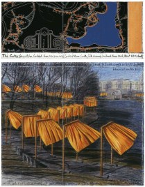 Christo, The Gates, Project for Central Park, New York City, 2003, collage in 2 parts 30.5 x 77.5 and 66.7 x 77.5 cm Pencil, fabric, charcoal, wax crayon, pastel, enamel paint, pastel, fabric sample and map Photo: Wolfgang Volz Ref #70 Copyright Christo 2003