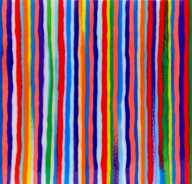 Davide Nido, Vertical Striped, 2012, colle su tela, 60x60 cm Courtesy Galleria Blu, Milano