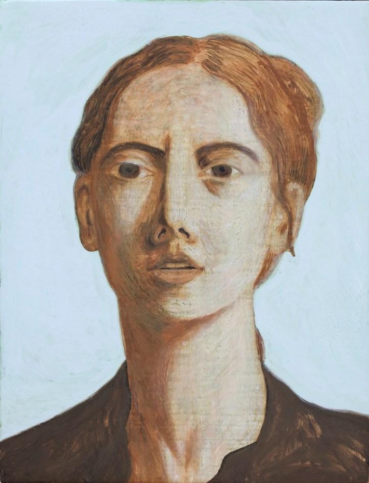 Ettore Tripodi, Ritratto di Annaluce, 2016, tempera su tavola, 26x24 cm Courtesy Studio d'Arte Cannaviello, Milano