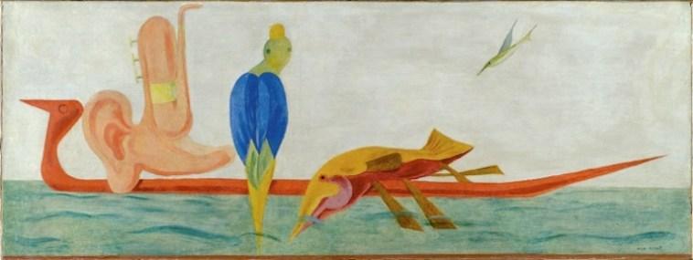 Max Ernst, Le réveil officiel du serin, 1923, olio su intonaco riportato su tela, 43.5x114.5 cm, Collezione Intesa Sanpaolo