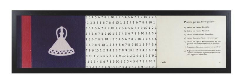 Vincenzo Agnetti, Progetto per un Amleto politico (Lesotho), 1973, fotografia, stampa e scrittura, 30x120 cm Courtesy Osart Gallery, Milano Foto di Bruno Bani