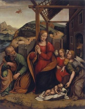 Giovanni Pietro Rizzoli (detto Giampietrino), Natività con due angeli, 1530-1535, olio su tavola, 123.5 x 97.7 cm, Museo d'arte della Svizzera italiana, Lugano. Collezione Cantone Ticino