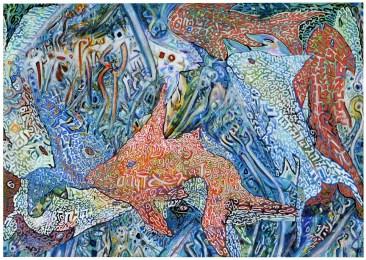 Abdallah khaled e Tobia Ravà, Con fusione (pesci), 2016, litoserigrafia a 4 mani su carta, cm 66 x 85, foto Amedeo Fontana