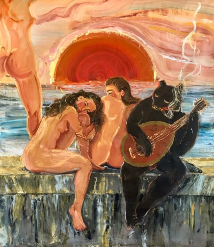 Katarina Janeckova, Malecón Youth, 2017, acrylic and oil on linen, 195x170cm, Galleria Studio d'Arte Raffaelli