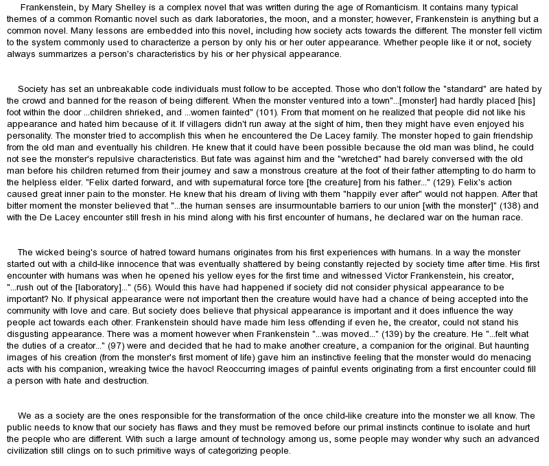 Frankenstein close analysis essay Coursework Academic Writing Service