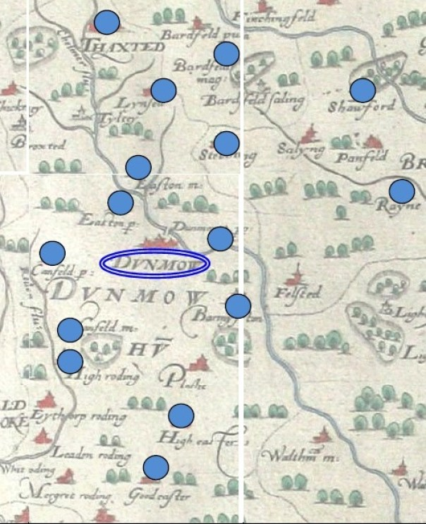 Villages documented as attending Great Dunmow's 1530-2 Corpus Christi play