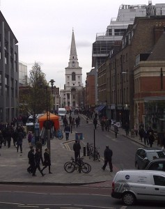 Brushfield Street with Hawksmoor's Christ Church in the background