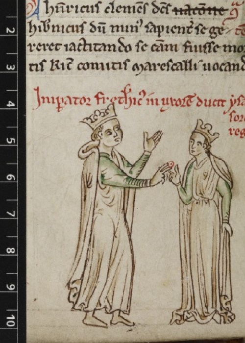 Royal 14 C VII f.123v Frederick II and Isabella of England