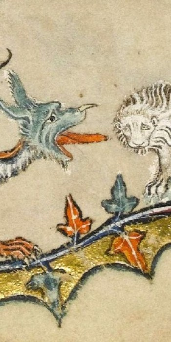 Macclesfield Psalter - Dragon and Lion folio 43v
