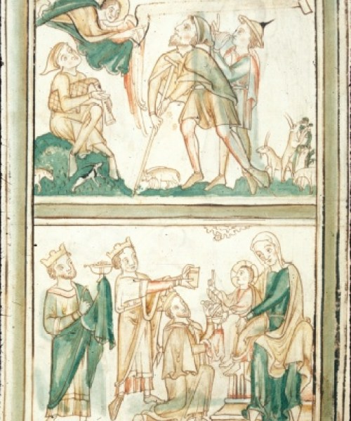 Royal 2 B VI f.8v Annunciation to the Shepherds