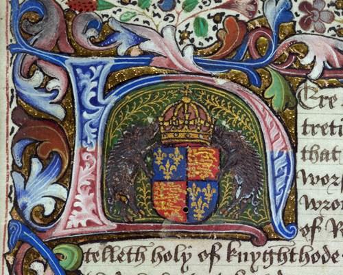 Royal 18 A XII f.1 Royal arms of England Richard III