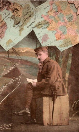 Postcards from the Front: Britain 1914-1919 - a solider in France writing a letter home to a loved one