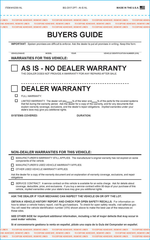 Used Car Buyers Guide Form - Daily Instruction Manual Guides \u2022