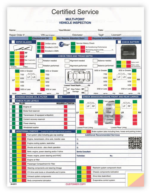 Buy GM Multi-Point Vehicle Inspection Forms - Estampe - vehicle inspection form