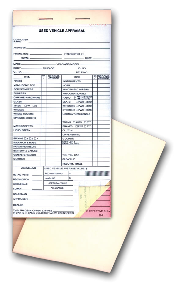 Vehicle Appraisal Forms - Books