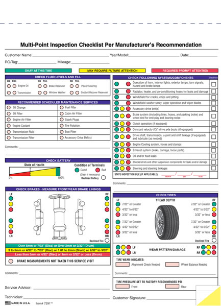 Generic and Imprinted Multi-Point Vehicle Inspection Forms - Estampe - vehicle inspection form
