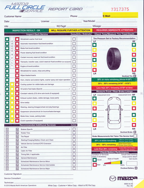 Multi-Point Inspection Form - Mazda Buy Now - Estampe - vehicle inspection form