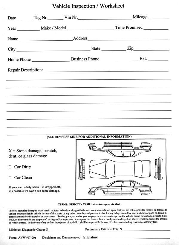 Vehicle Inspection Worksheet - Estampe - vehicle inspection form