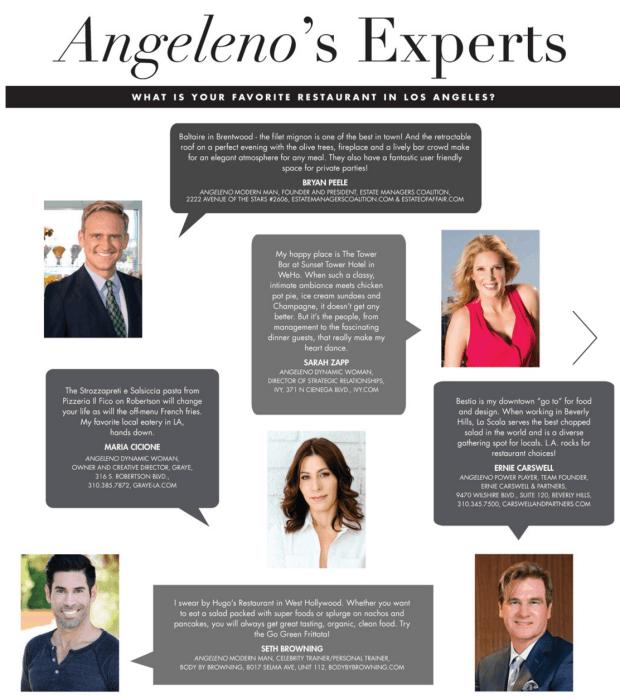 angeleno magazine restaurant issue 2016 best Los Angeles restaurants