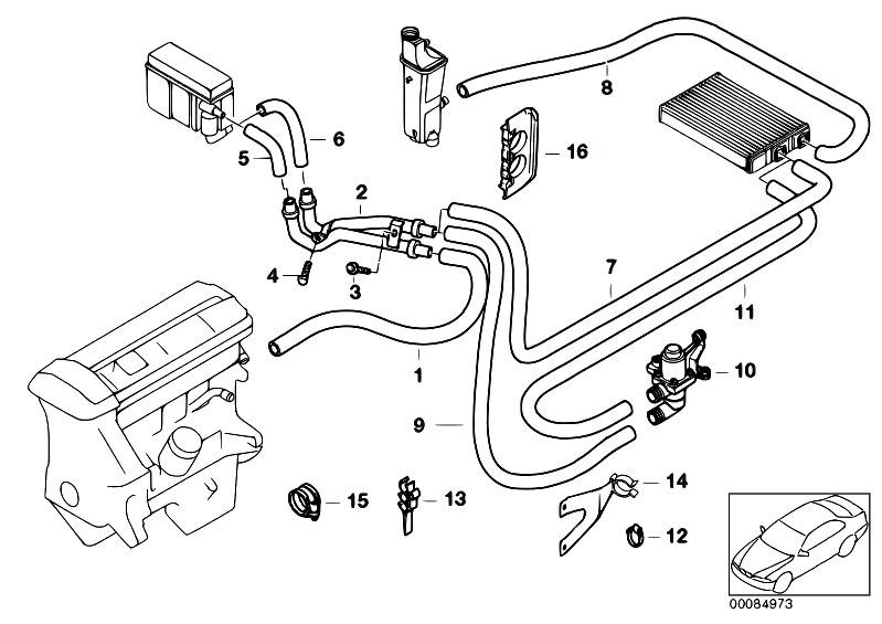 bmw heater hose diagram