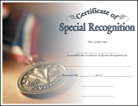 CERTIFICATE SPECIAL RECOGNITION C7018