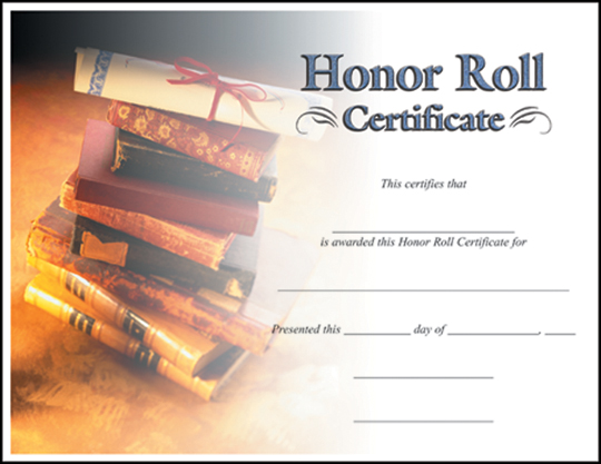 CERTIFICATE HONOR ROLL C7022 - free printable honor roll certificates