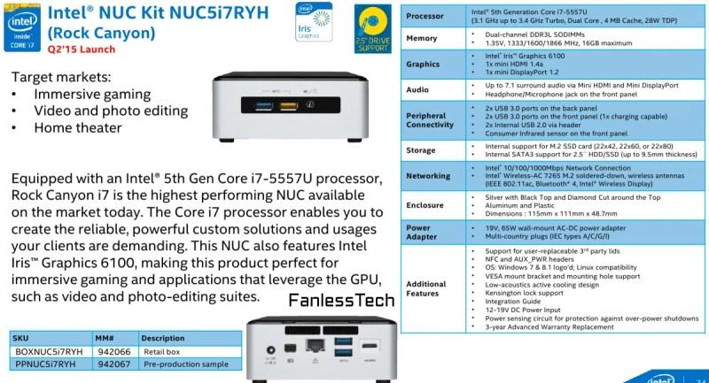 Intel NUC Features Iris 6100 i7 Broadwell specs
