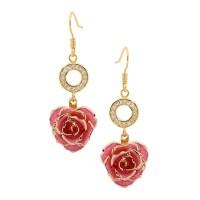 Pink Glazed Rose Earrings in 24K Gold