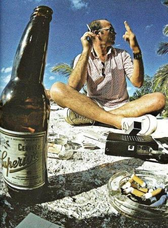 Hunter Thompson on the beach