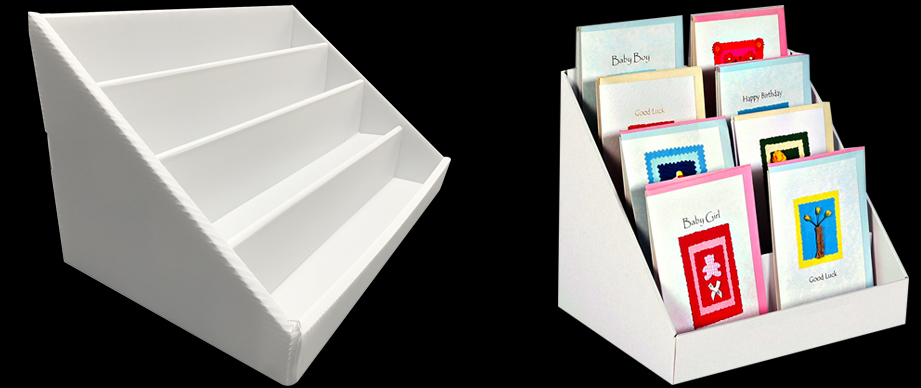 Beautiful 4 tier white collapsible cardboard greeting card display 4 tier white collapsible cardboard greeting card display stand holder rack shelf ebay m4hsunfo