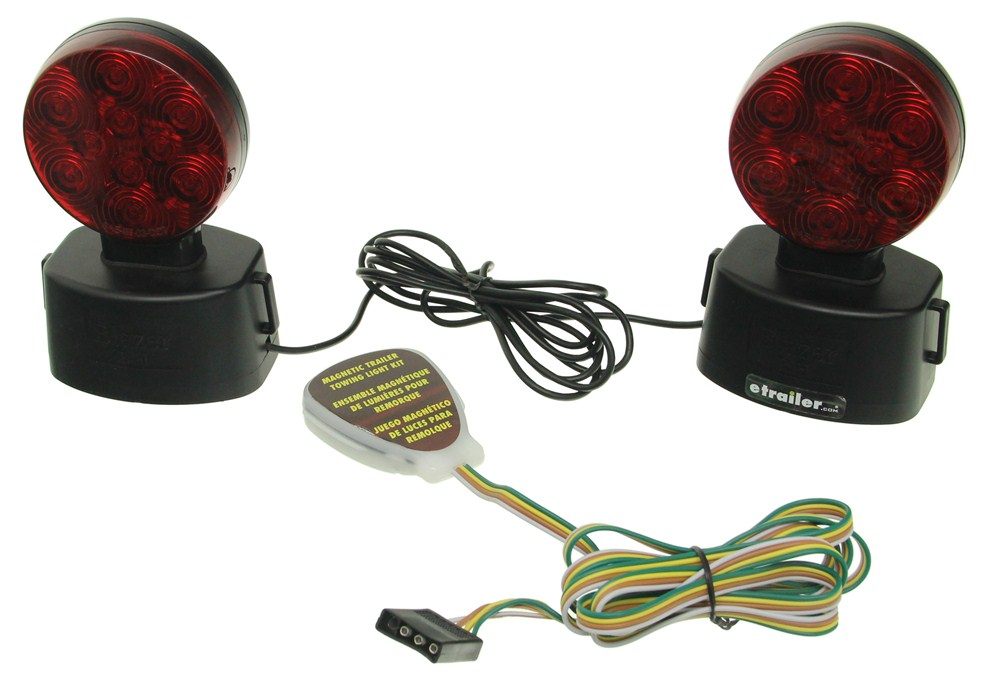 Blazer Magnetic Tow Lights - Red LEDs - 4-Way Flat Connector