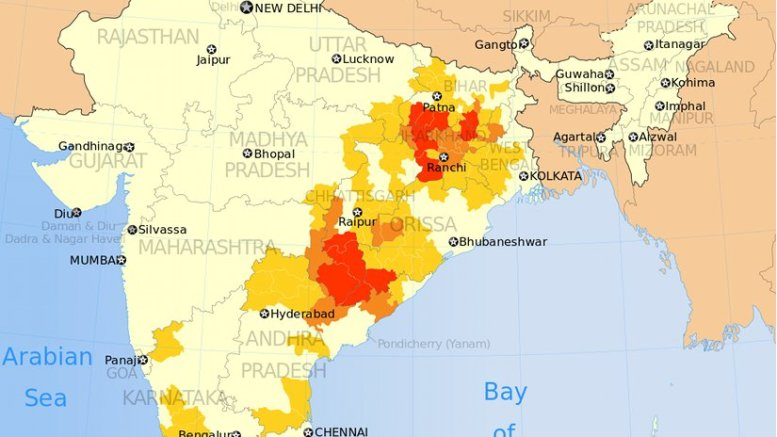 Map shows districts in India affected by Naxalites (left wing terrorism). Naxalites are considered far-left radical communists, supportive of Maoist ideology. Source: Institute for Conflict Management, SATP.