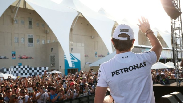 Nico Rosberg, of the MERCEDES AMG PETRONAS team, after winning the Abu Dhabi GP. Photo Credit: Mercedes-Benz.
