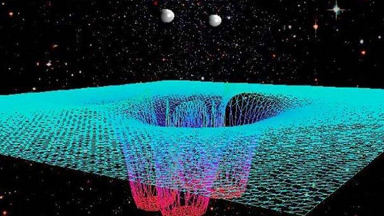 RIT scientists produced one of the first computer simulations of gravitational waves from colliding black holes. The signals they predicted were confirmed by the LIGO Scientific Collaboration's first observation of gravitational waves. Credit Campanelli et al.