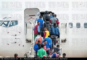 Departure of Eritrean and Syrians refugees to Sweden and Finland, Ciampino airport, Rome, ITALY-21-10-2015.