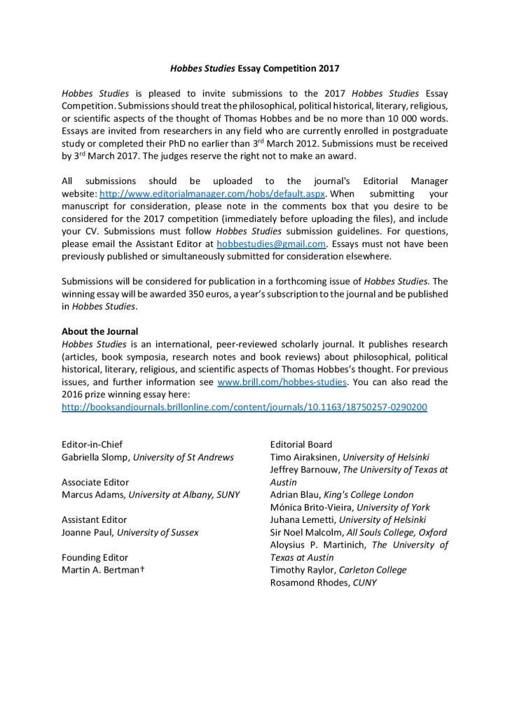 European Hobbes Society Hobbes Studies 2017 Essay Competition