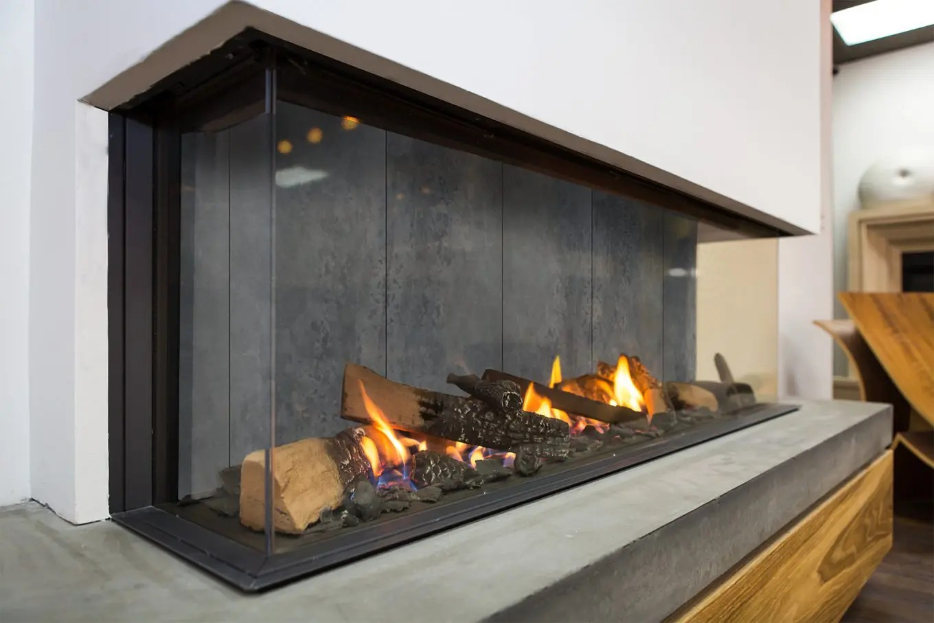 New Designer Interior For Modern Gas Fireplaces Concrete Style
