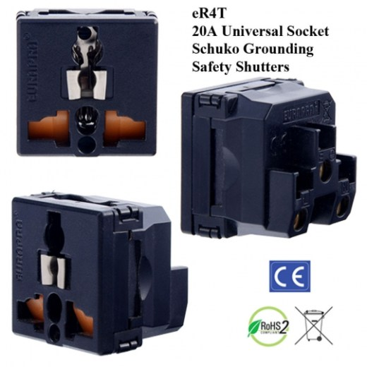 eR4t Black Universal Outlet with schuko Ground and Saftey Shutters