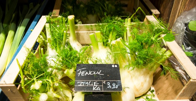 Fennel for sale in an organic food shop