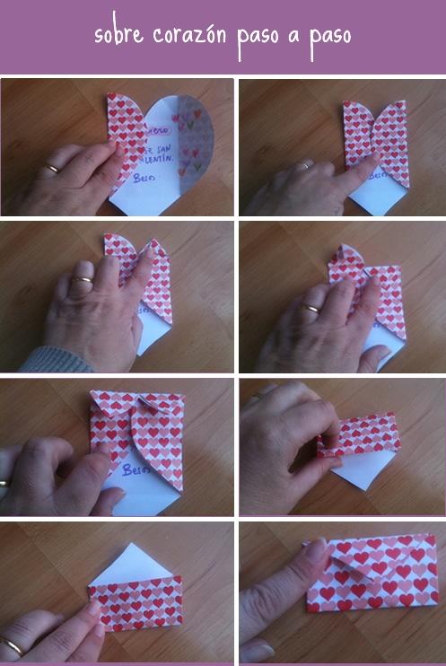 Cómo hacer un sobre en forma de corazón - Manualidades