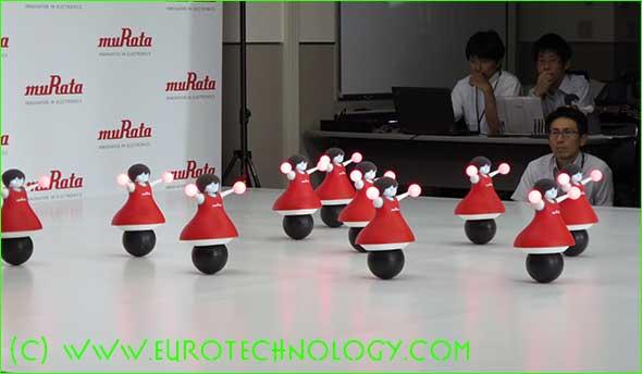 Murata cheerleader robots dance in sync