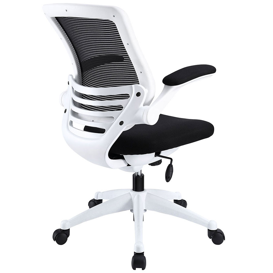 ede modern fabric office chair in black white back view