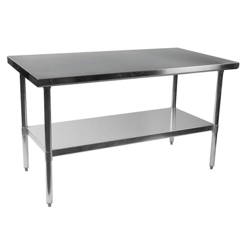 stelios steel prep table 60 kitchen prep tables Stelios 60 Steel Modern Counter Height Kitchen Prep Table