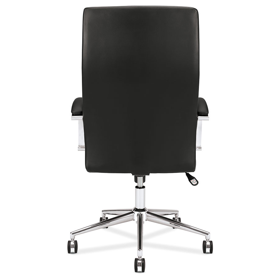victory modern black leather office chair back view