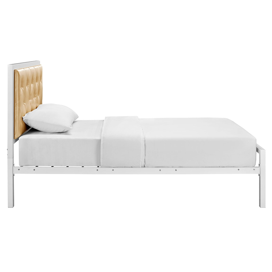 myles champagne modern twin bed side view