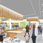 Artwork shows proposed new food court for the Balwin Hills Crenshaw  Plaza