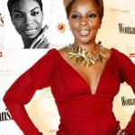Mary J. poses with Nina Simone's photo