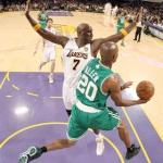 Lamar Odom couldn&#039;t stop Ray Allen in game 2 of the 2010 NBA Finals