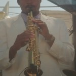 Jay Boykins plays the saxophone at the festival